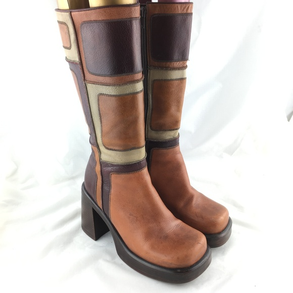 761735244e26 Vintage 90s boots tall brown patch square chunky 7.  M 5c7865a6a5d7c609d5d46513